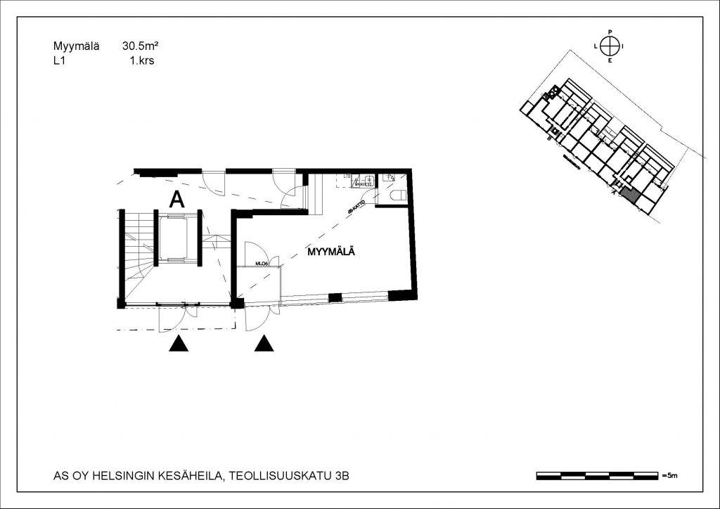 Kesäheila myymälä L1 30,5 m2 1. krs