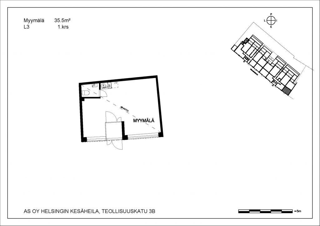 Kesäheila myymälä L3 35,5 m2 1. krs