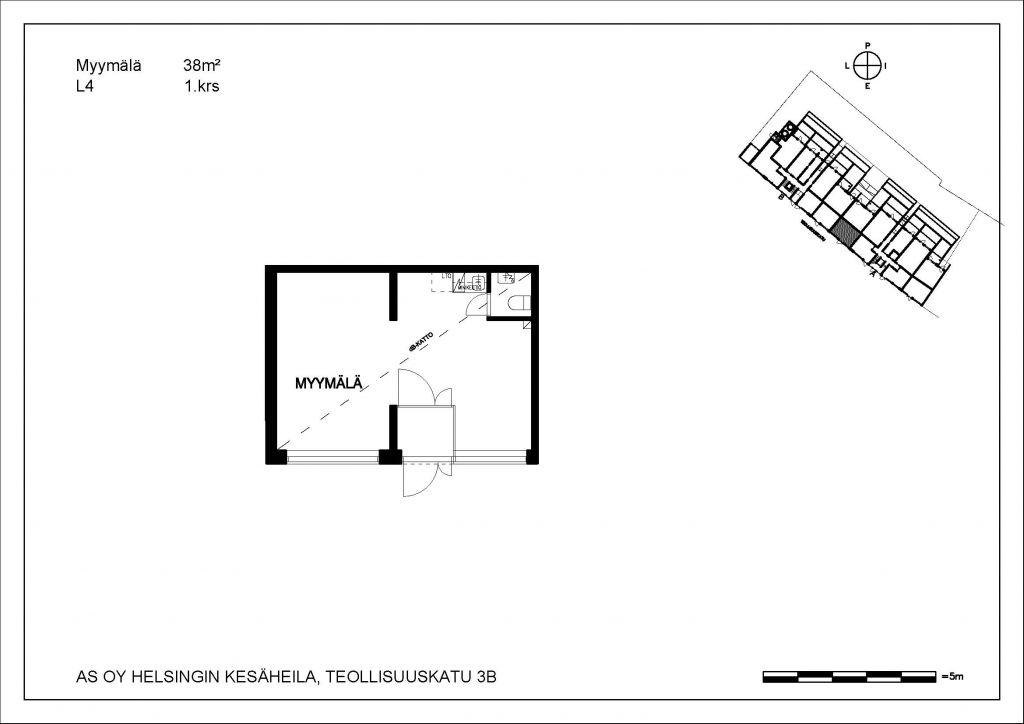 Kesäheila myymälä L4 38 m2 1. krs
