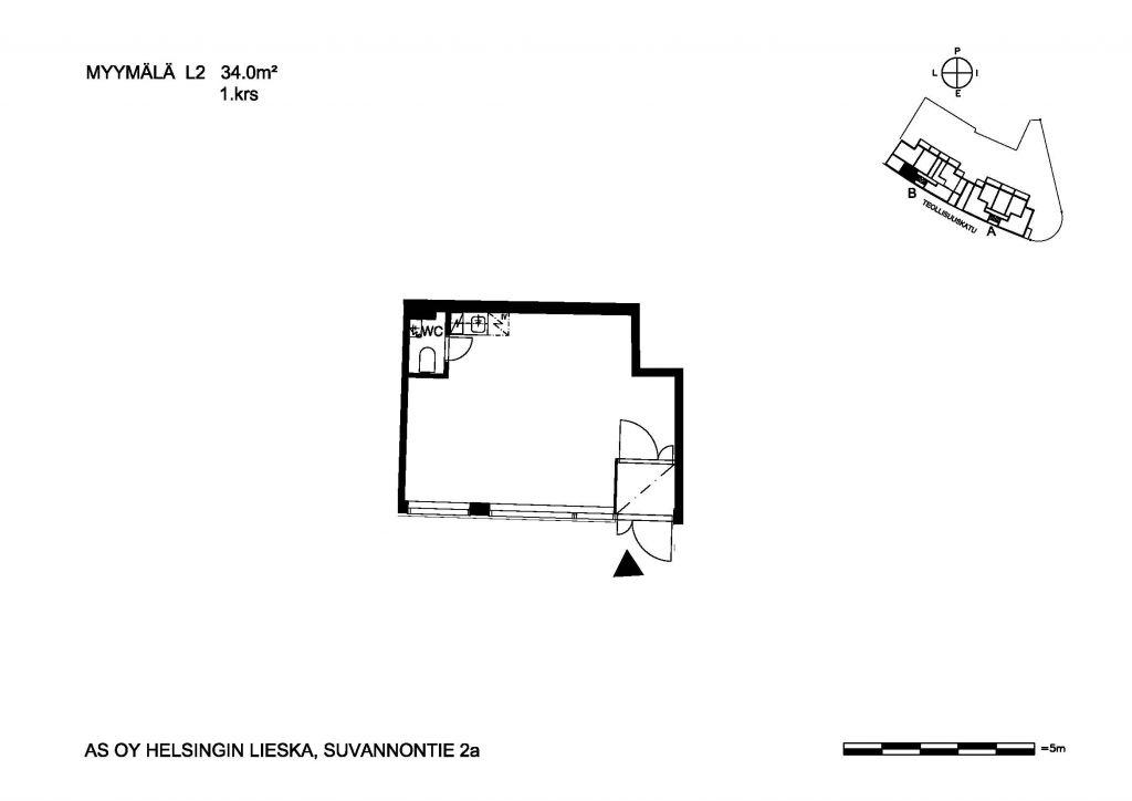 Lieska myymälä L2 34,0 m2 1. krs