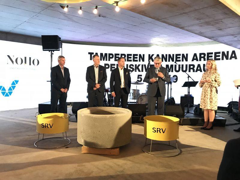 Tampereen Kannen areenan peruskivi muurattiin